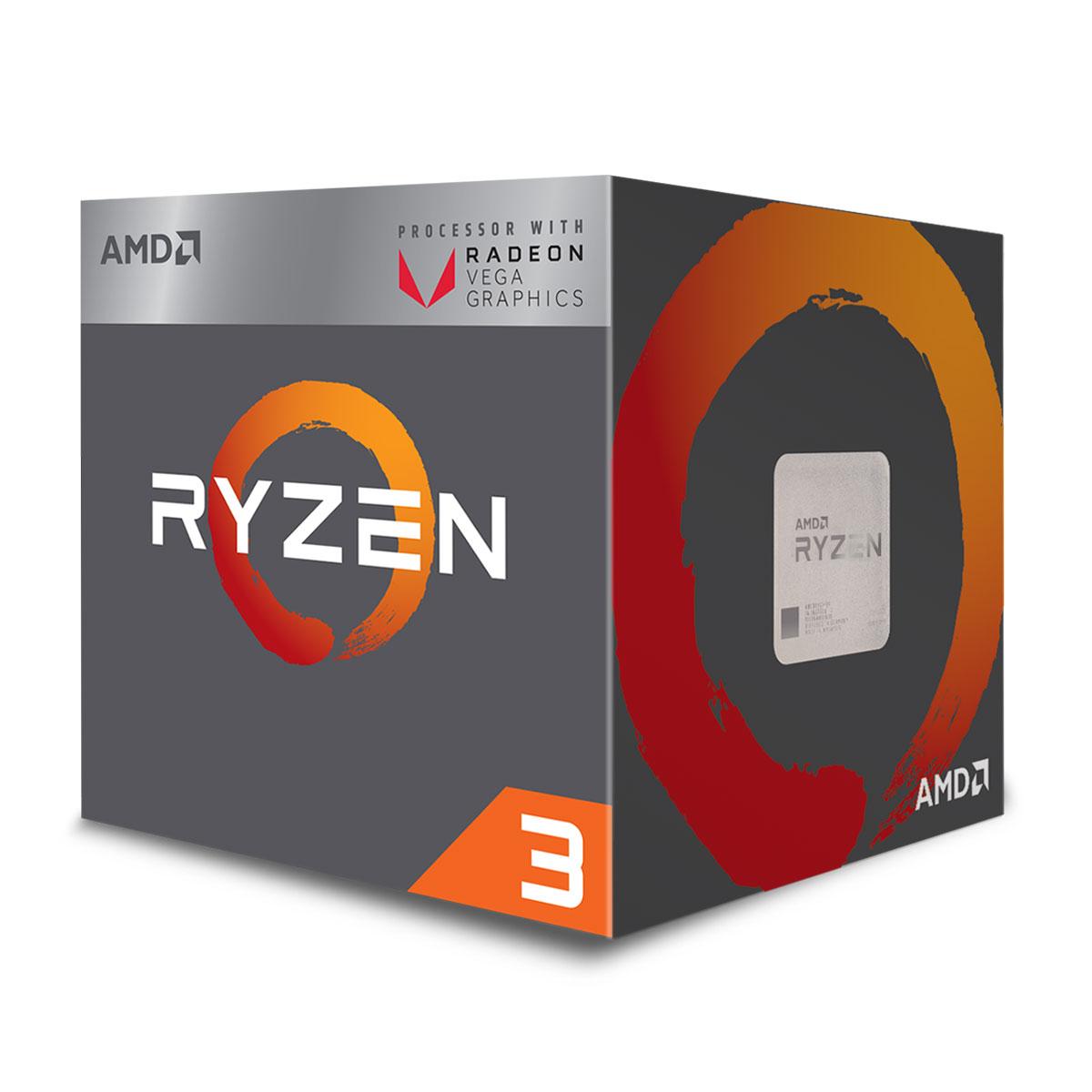 Processeur AMD 4 Core/4 Threads Socket AM4 Ryzen 3 2200G 6 Mo (Boîte, informatique ile de la Réunion, informatique-reunion.com