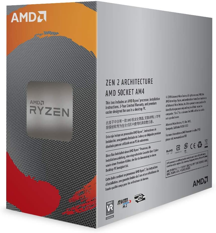 Processeur AMD 6 Cores-12 Threads Socket AM4 Ryzen 5 3600 35 Mo (Boîte) avec radiateur (pad thermique inclu) AMD Wraith Stealth, informatique ile de la Réunion, informatique-reunion.com