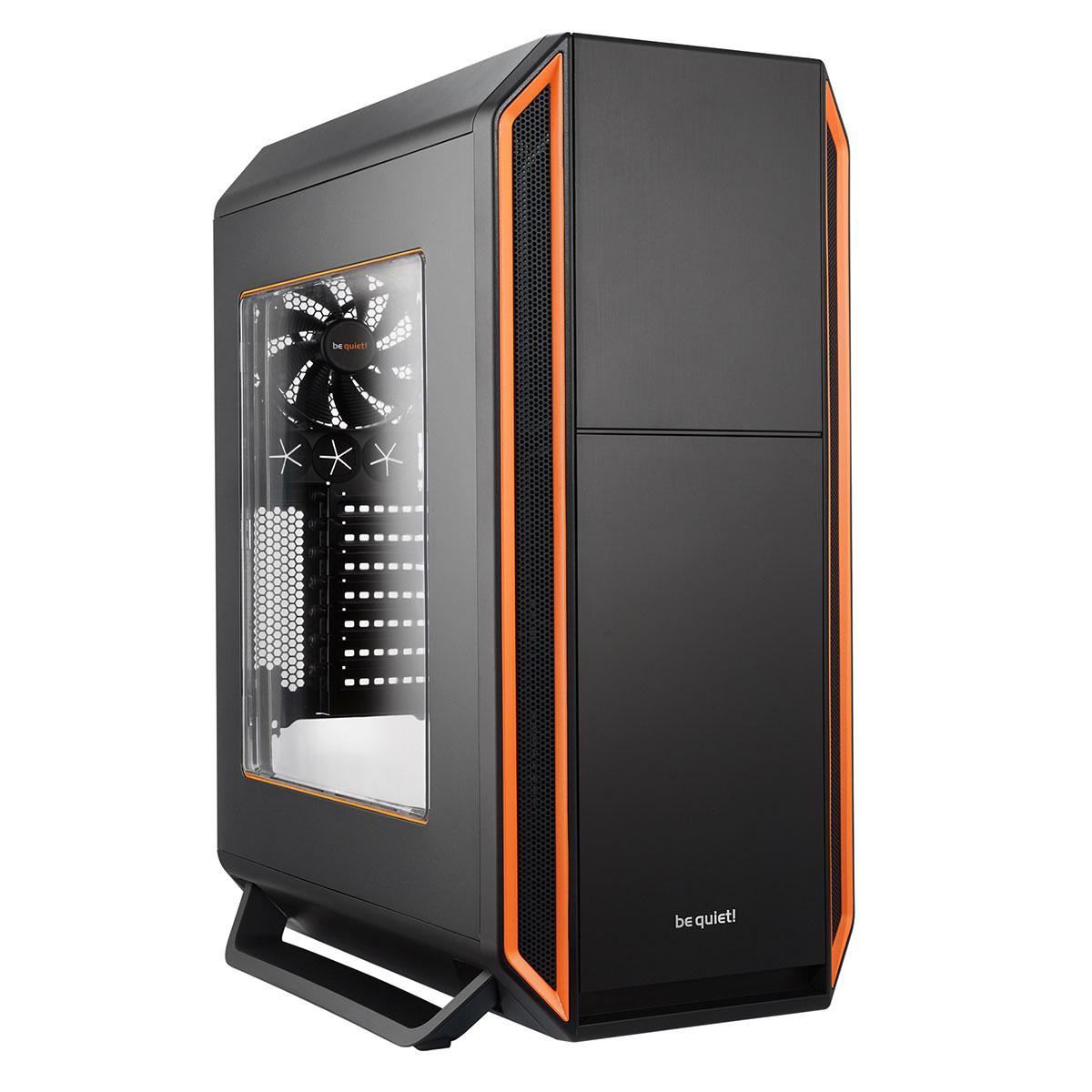 Boitier PC Be Quiet Silent Base Noir/Orange avec fenêtre (sans alim), informatique ile de la Réunion 974