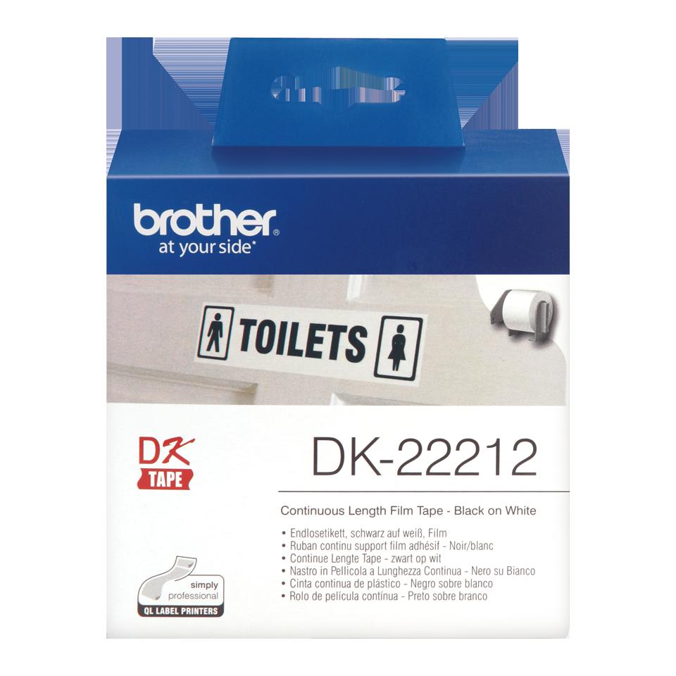 Ruban film continu noir sur blanc DK-22212 Brother Original, largeur 62 mm, longueur 15,24 m, Informatique Réunion 974