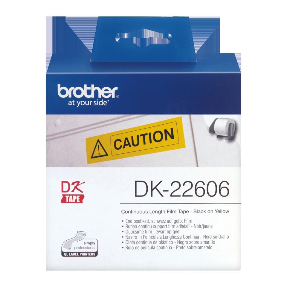 Ruban film continu noir sur jaune DK-22606 Brother Original, largeur 62 mm, longueur 15,24 m, Informatique Réunion 974