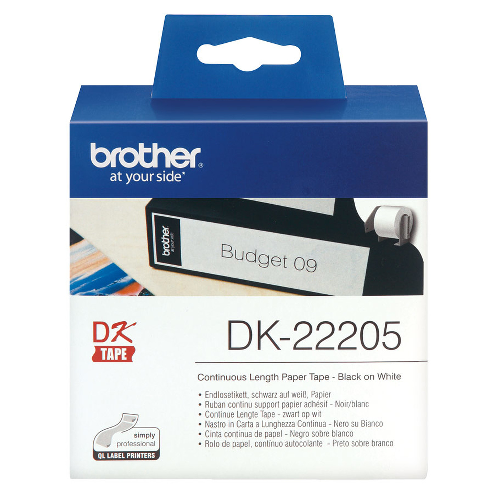 Ruban de papier continu noir sur blanc DK-22205 Brother Original, largeur 62 mm, longueur 30,48 m, Windows et Linux, Informatique Réunion 974