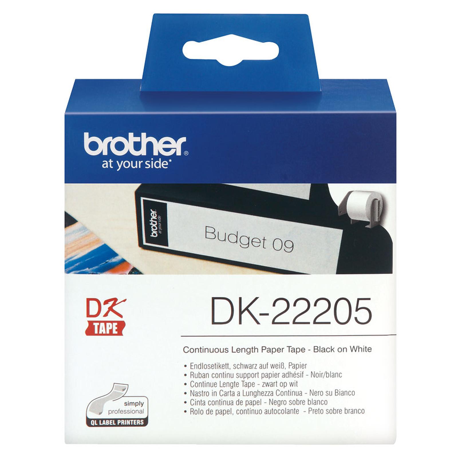 Ruban de papier continu noir sur blanc DK-22205 Brother Original, largeur 62 mm, longueur 30,48 m, Windows et Linux, Informatique Réunion 974