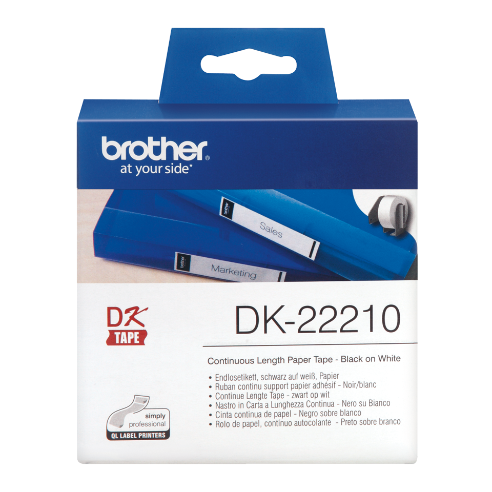 Ruban de papier continu noir sur blanc DK-22210 Brother Original, largeur 29 mm, longueur 30,48 m, Windows et Linux, Informatique Réunion 974