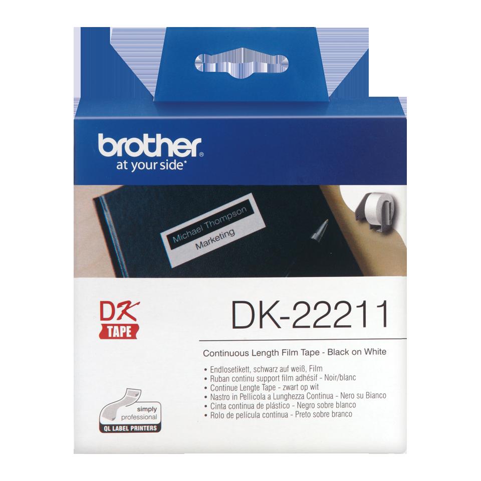 Rouleau d'étiquettes blanches DK-22211 Brother Original, largeur 29 mm, longueur 15,24 m, Ruban continu, Informatique Réunion 974