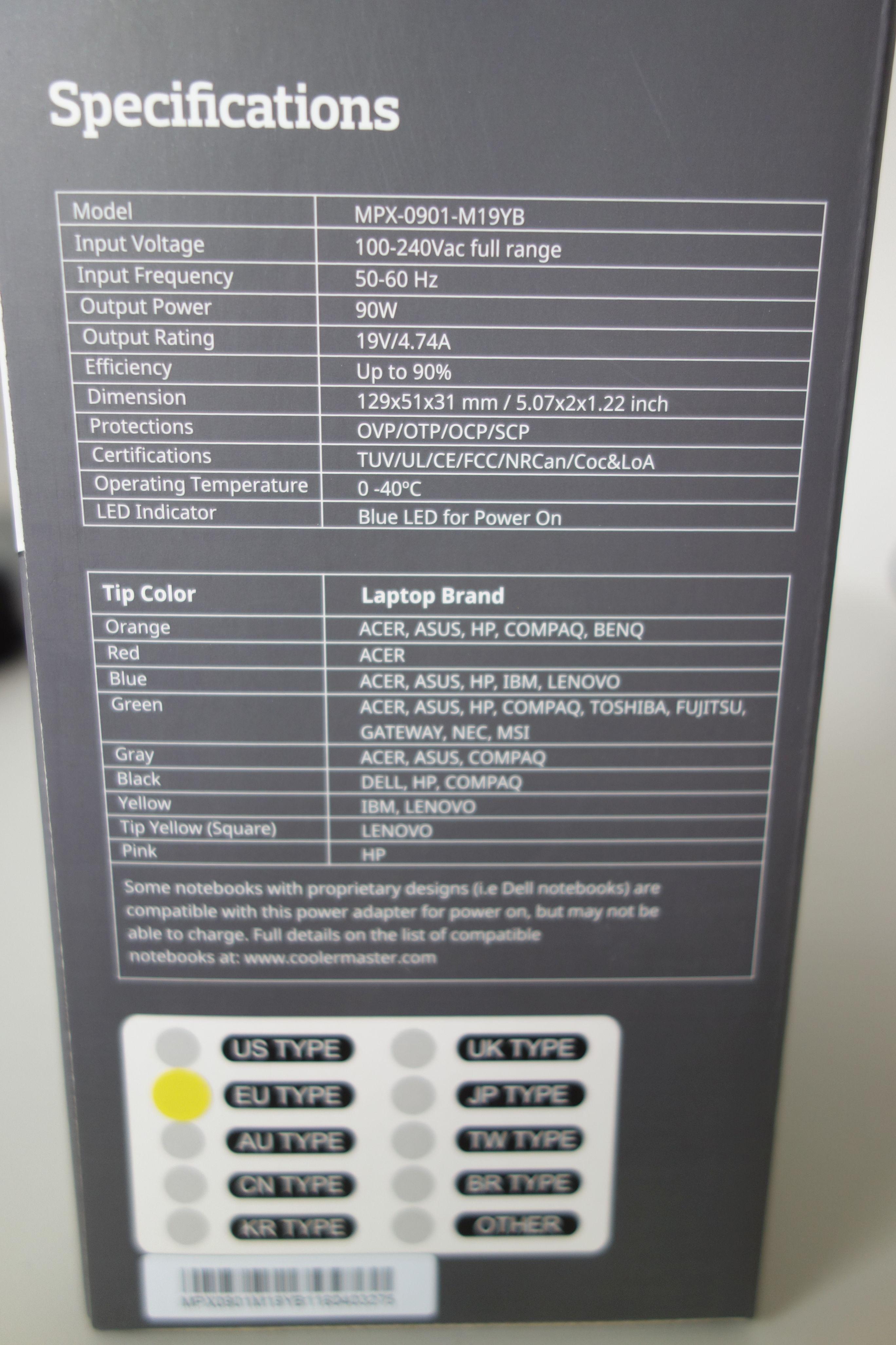 Alimentation chargeur universel pour PC portable Cooler Master 90W, informatique ile de la Réunion 974, Futur Réunion Informatique