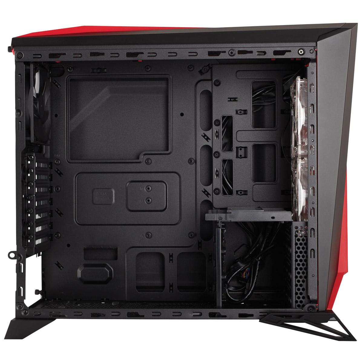 Boitier PC Corsair Carbide Series SPEC Alpha Moyen Tour Noir/Rouge avec fenêtre (sans alim), informatique ile de la Réunion 974