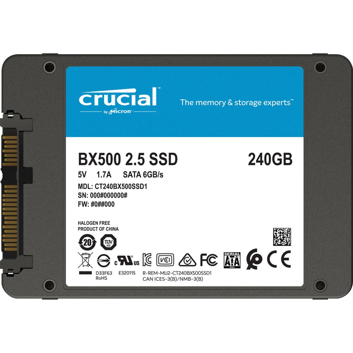 Disque dur SSD Crucial BX500 120 Go 2.5 pouces (7mm) Serial ATA 3 (6Gb/s)s, informatique ile de la Réunion 974