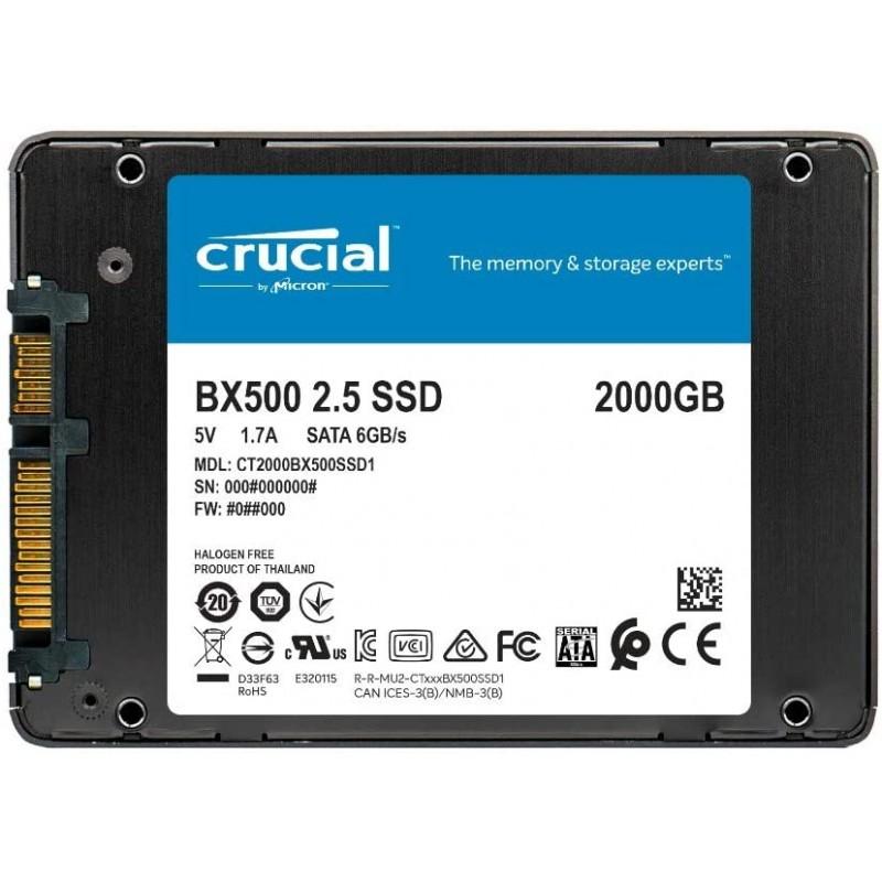 Disque dur SSD Crucial BX500 2TGo 2.5 pouces (7mm) Serial ATA 3 (6Gb/s)s, informatique ile de la Réunion 974