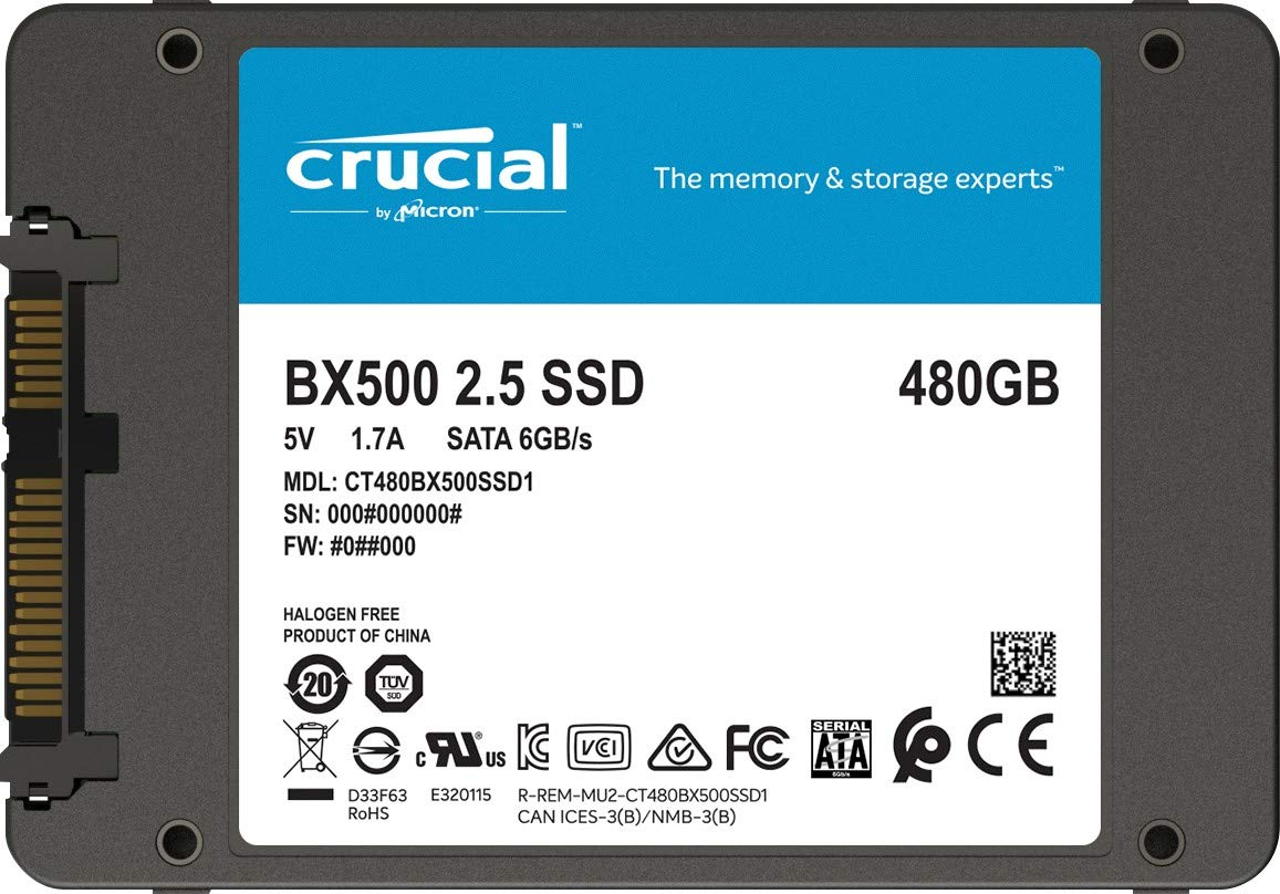 Disque dur SSD Crucial BX500 480 Go 2.5 pouces (7mm) Serial ATA 3 (6Gb/s)s, informatique ile de la Réunion 974