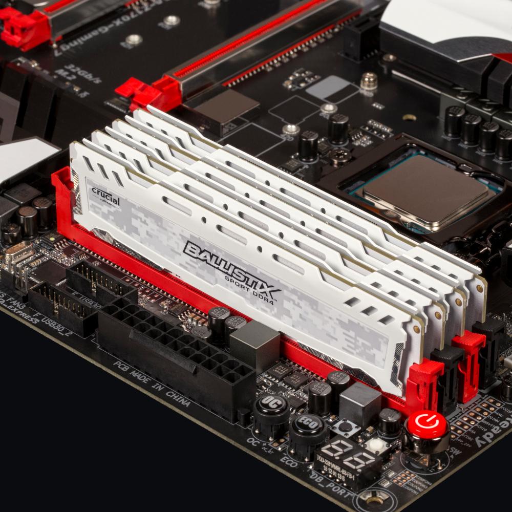 Mémoire Crucial Ballistix Sport Blanc 4 Go DDR4 2400 MHz CL16, informatique ile de la Réunion 974