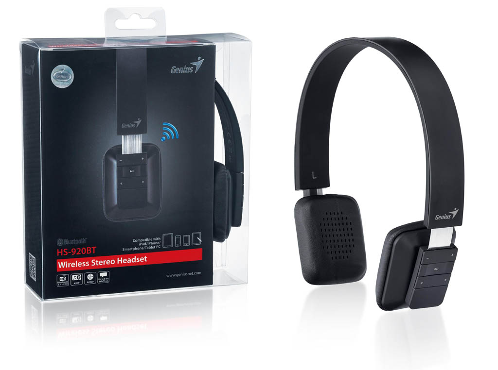 Casque supra-auriculaire Bluetooth avec microphone Genius HS-920BT Noir