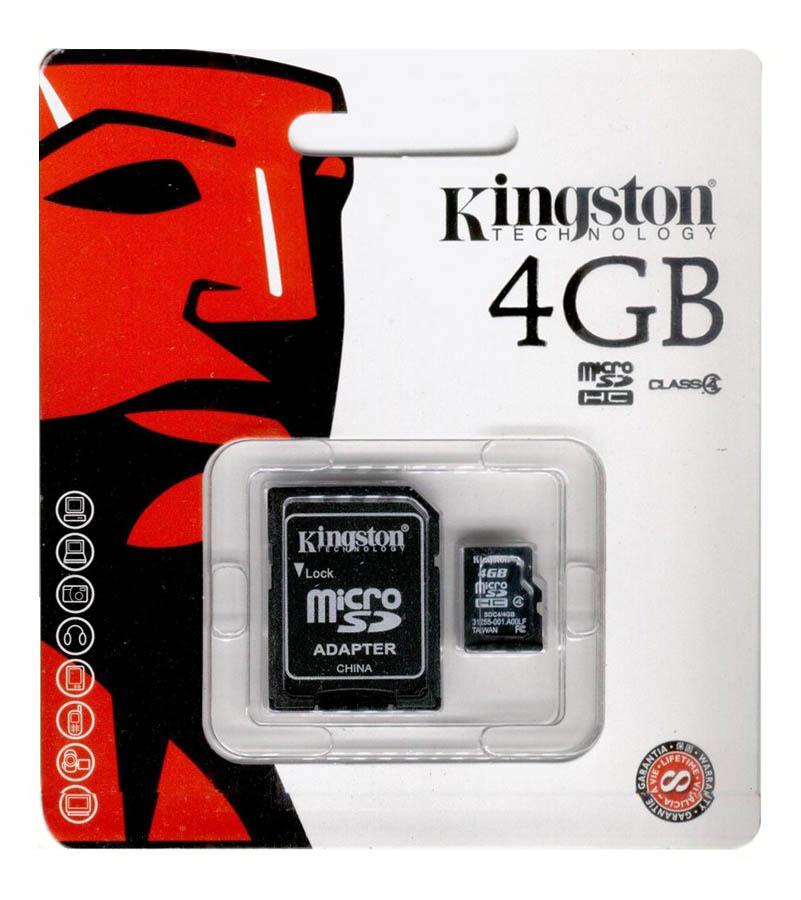 Carte mémoire Kingston micro SDHC 4 Go + adaptateur SD, informatique ile de la réunion