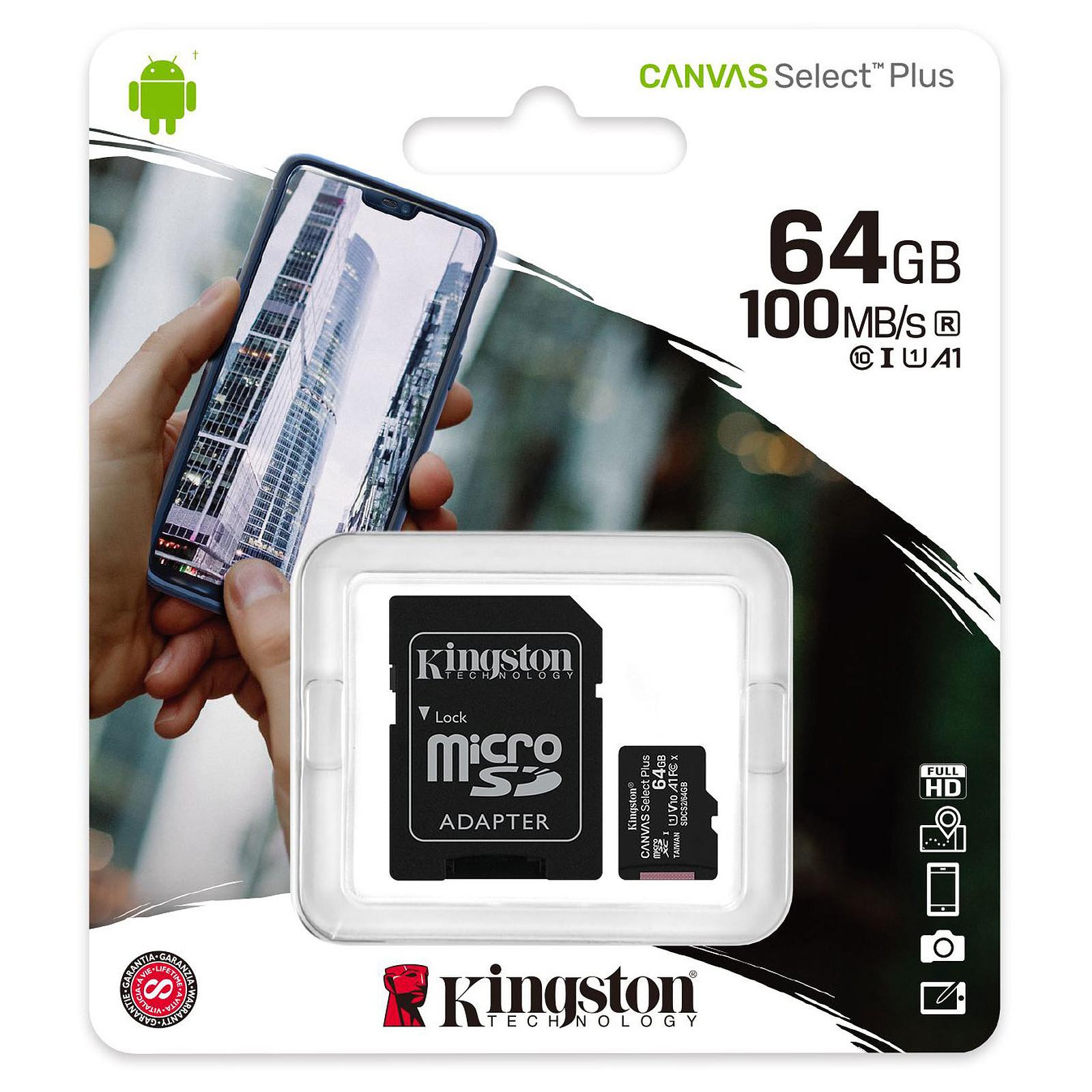 Carte mémoire Kingston micro SDXC 64 Go Class10 U1 avec adaptateur SD, informatique Reunion 974, Futur Réunion informatique