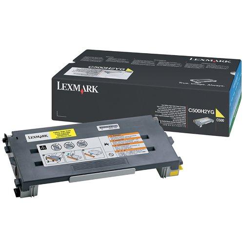 Toner Jaune Lexmark C500H2YG Haute capacité (3 000 pages à 5%) , Informatique Réunion 974