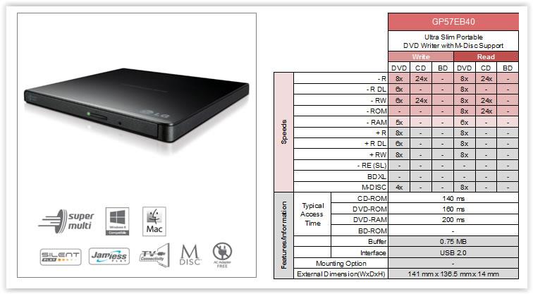 Graveur de DVD slim externe USB LG GP57EB40, Informatique Réunion 974
