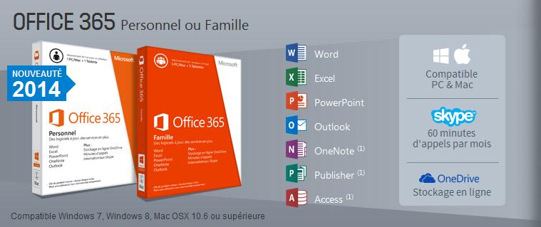 Microsoft Office 365 Famille (Français, pour Windows ou Mac) 5 postes + 5 tablettes ou smartphones, informatique Reunion 974, Futur Réunion informatique