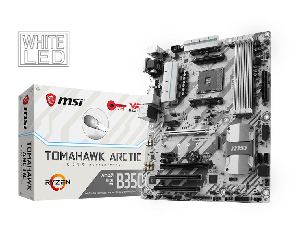 Carte mère MSI B350 Tomahawk Arctic Socket AM4 (AMD B350) ATX, informatique ile de la Réunion 974