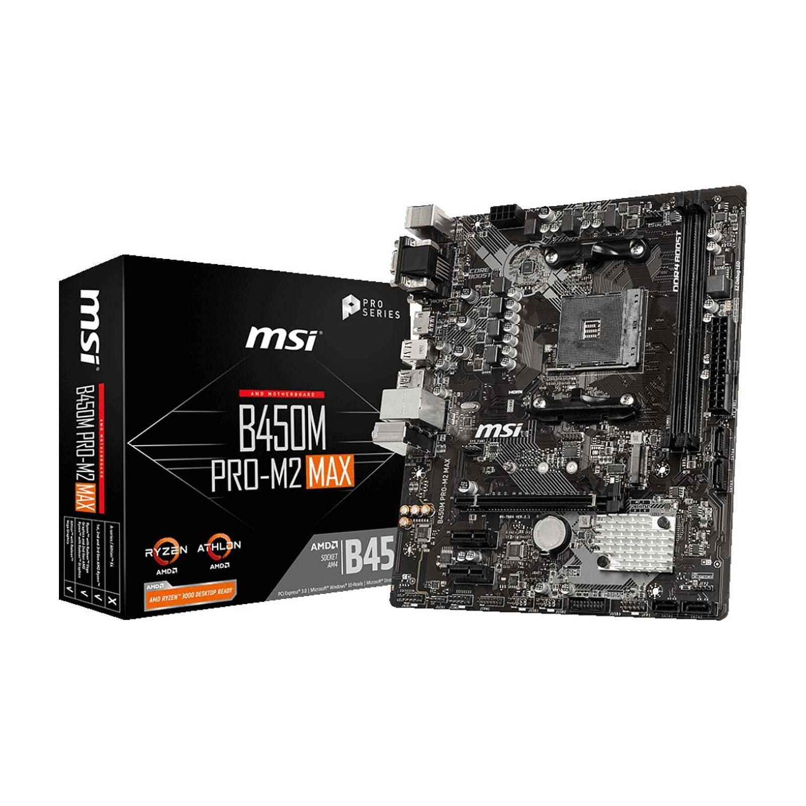 Carte mère MSI B450M PRO-M2 MAX Socket AM4 (AMD B450) mATX, informatique ile de la Réunion 974