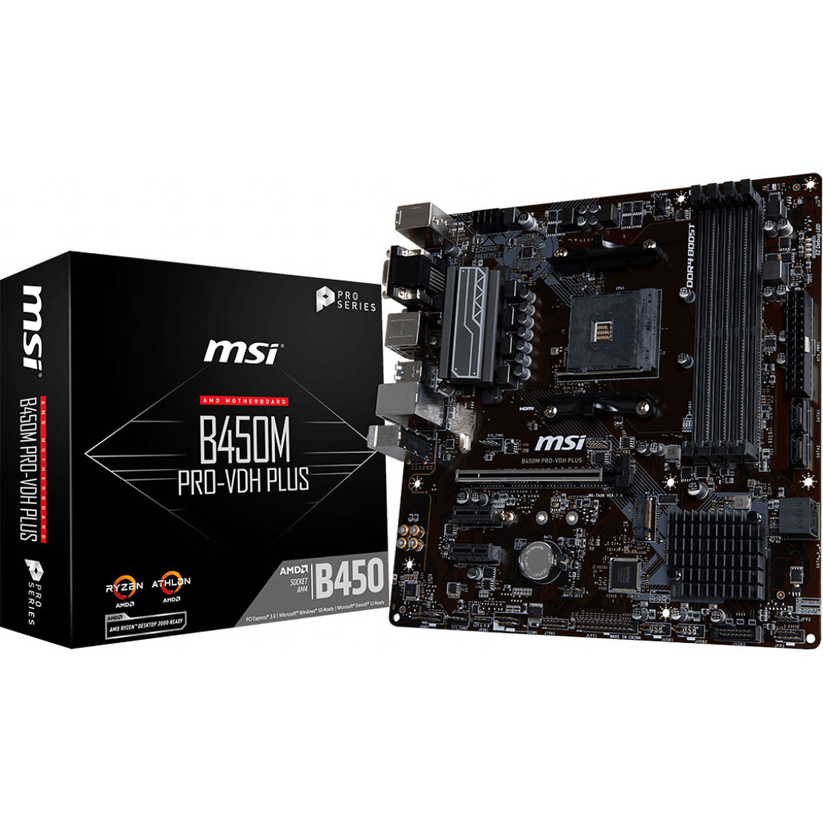 Carte mère MSI B450M PRO-VDH PLUS Socket AM4 (AMD B450) mATX, informatique ile de la Réunion 974