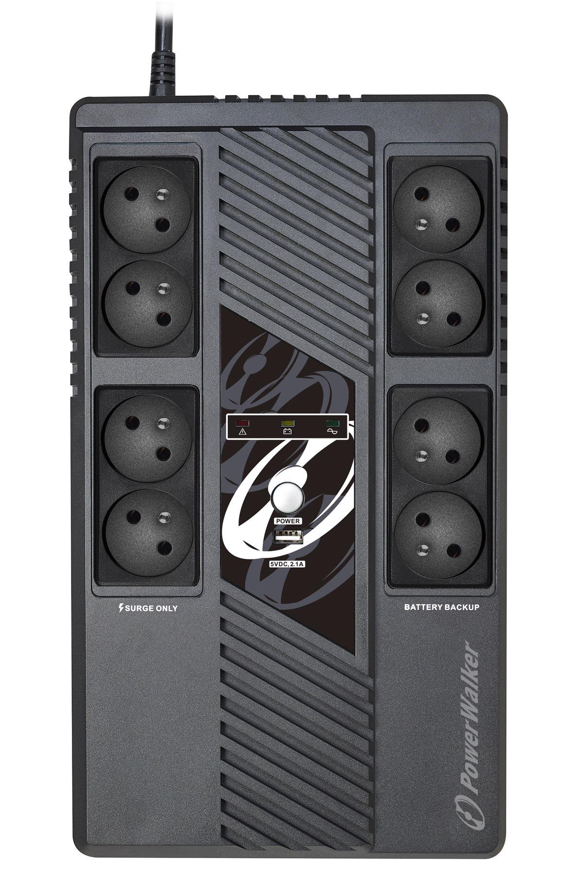 Onduleur avec régulateur de tension (AVR) PowerWalker  VI MS 1000VA / 600W avec 8 prises FR , informatique ile de la Réunion 974