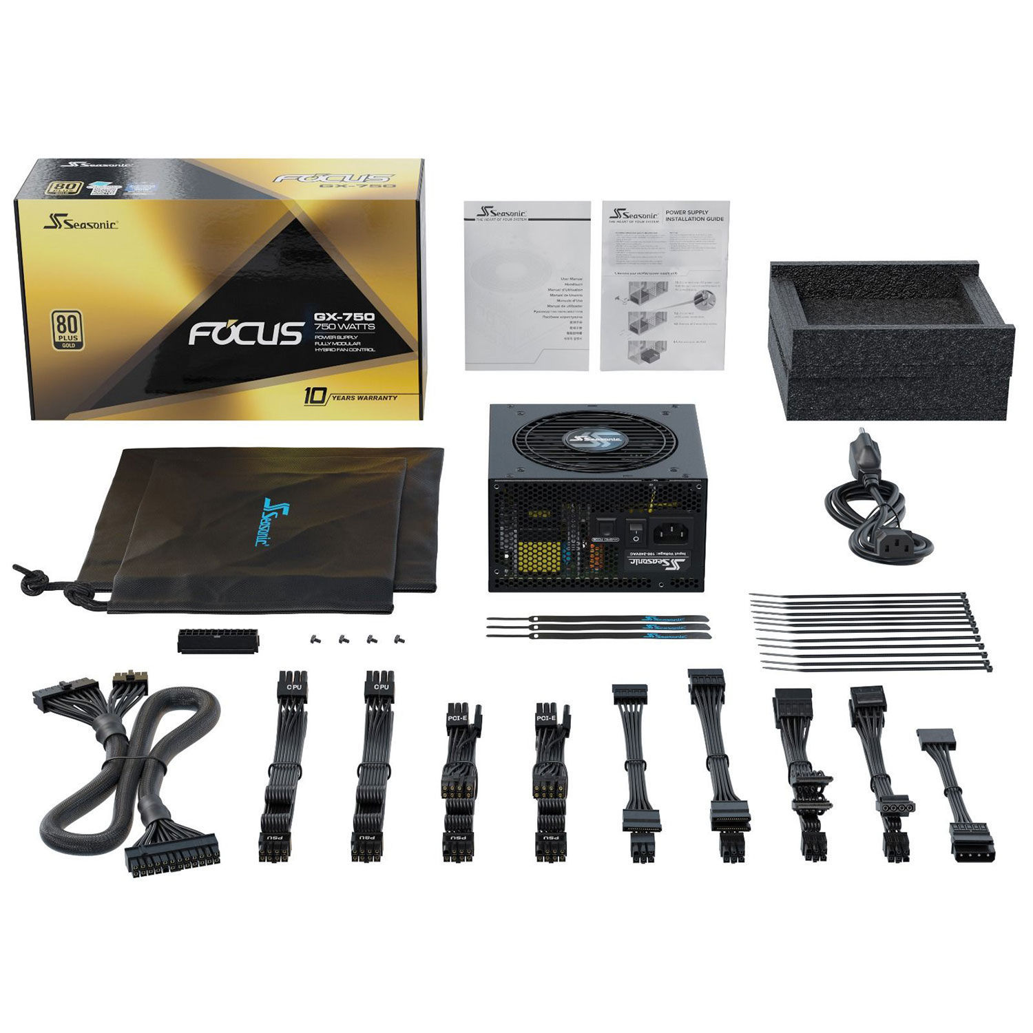 Alimentation PC 750W Seasonic Focus GX750 80 Plus Gold Full Modulaire, informatique ile de la Réunion 974, Futur Réunion Informatique