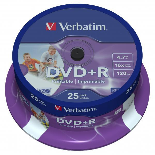 DVD+R VERBATIM 4.7 Go Certifié 16x impromables Pack de 25, informatique ile de la Réunion 974