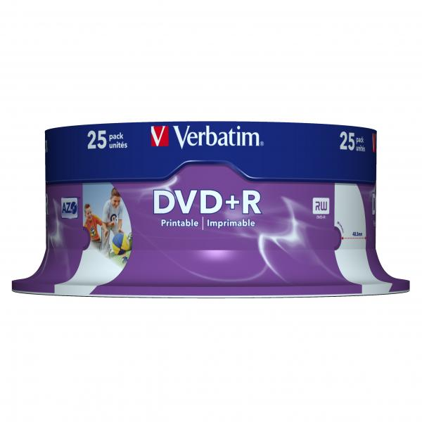 DVD+R VERBATIM 4.7 Go Certifié 16x imprimables Pack de 25, informatique ile de la Réunion 974